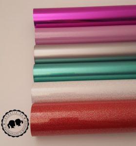 Flexfolien: Metallic lila, Paint Pink, Paint Grren, Glitter White, Glitter Red