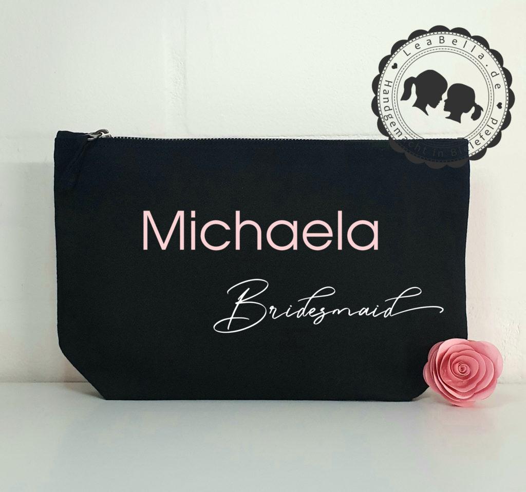 Kosmetiktasche für die Brautjungfer in schwarz mit roségold