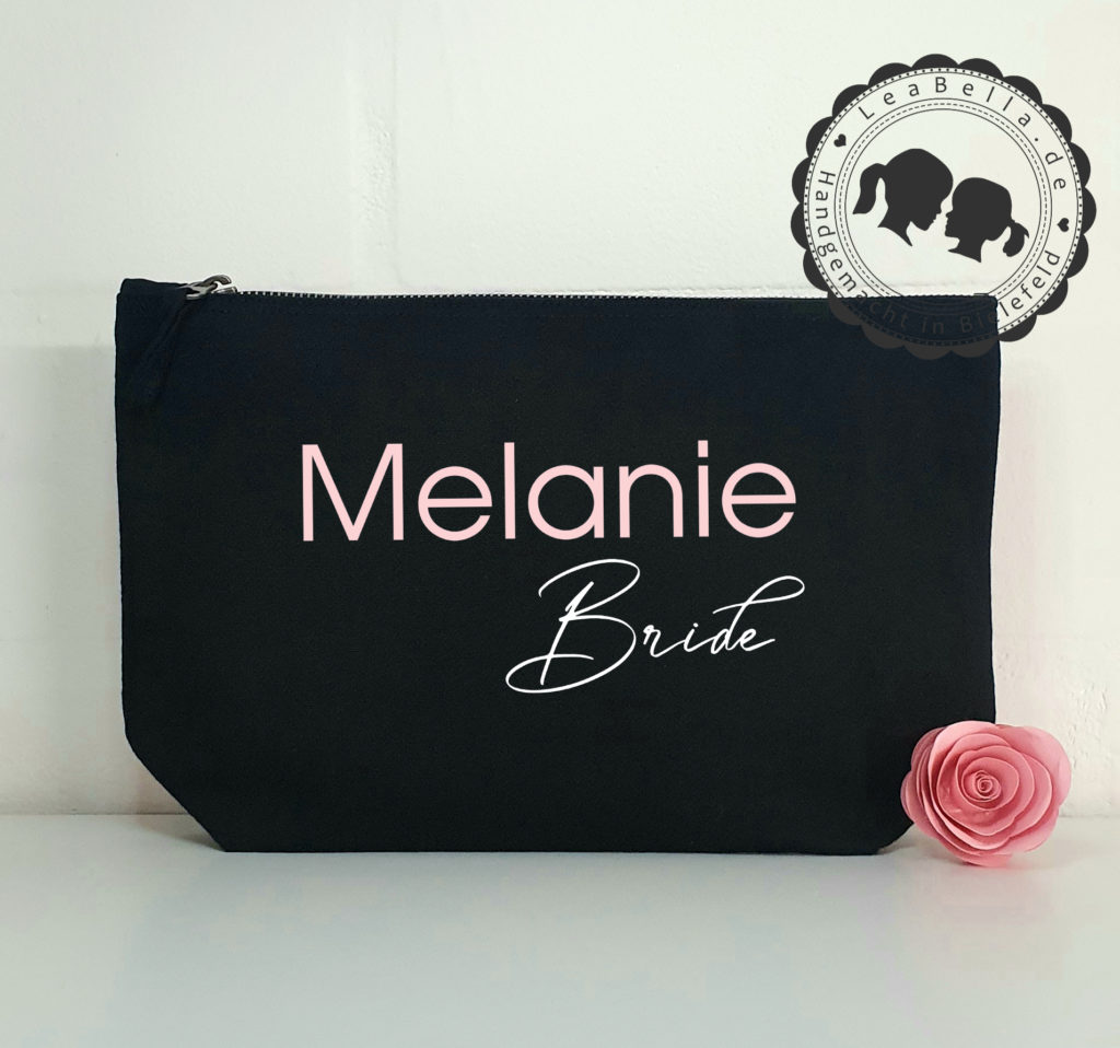 Kosmetiktasche für die Braut in schwarz mit roségold